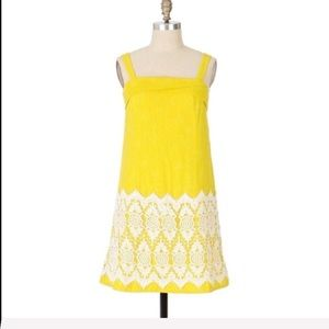 Anthropologie brand Floreat yellow floral dress